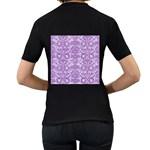 DAMASK2 WHITE MARBLE & PURPLE DENIM (R) Women s T-Shirt (Black) (Two Sided) Back