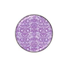 Damask2 White Marble & Purple Denim (r) Hat Clip Ball Marker by trendistuff