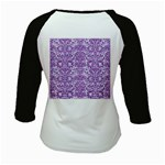 DAMASK2 WHITE MARBLE & PURPLE DENIM (R) Kids Baseball Jerseys Back