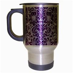 DAMASK2 WHITE MARBLE & PURPLE DENIM (R) Travel Mug (Silver Gray)