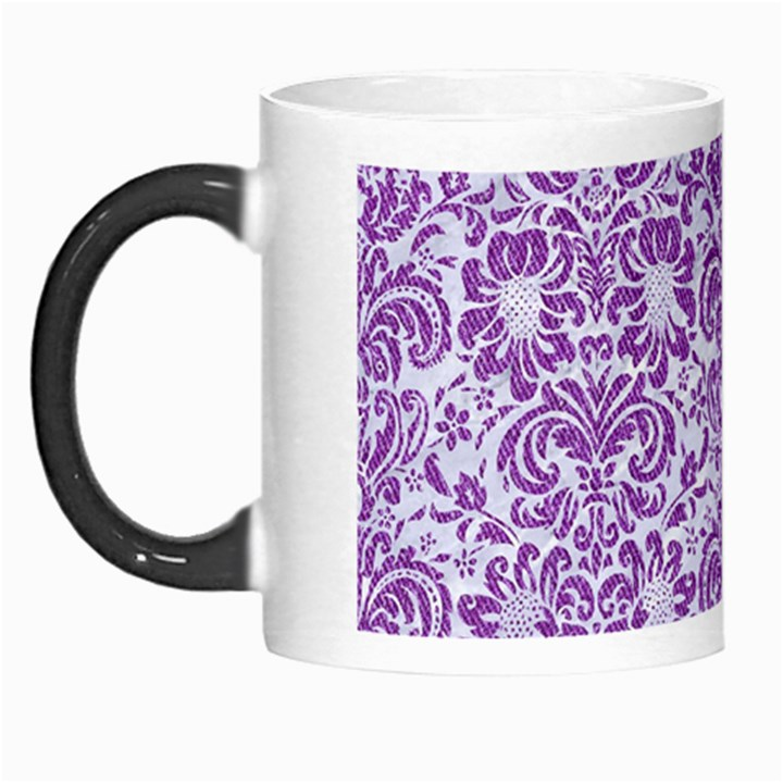 DAMASK2 WHITE MARBLE & PURPLE DENIM (R) Morph Mugs
