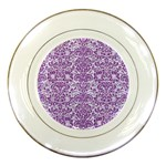 DAMASK2 WHITE MARBLE & PURPLE DENIM (R) Porcelain Plates Front