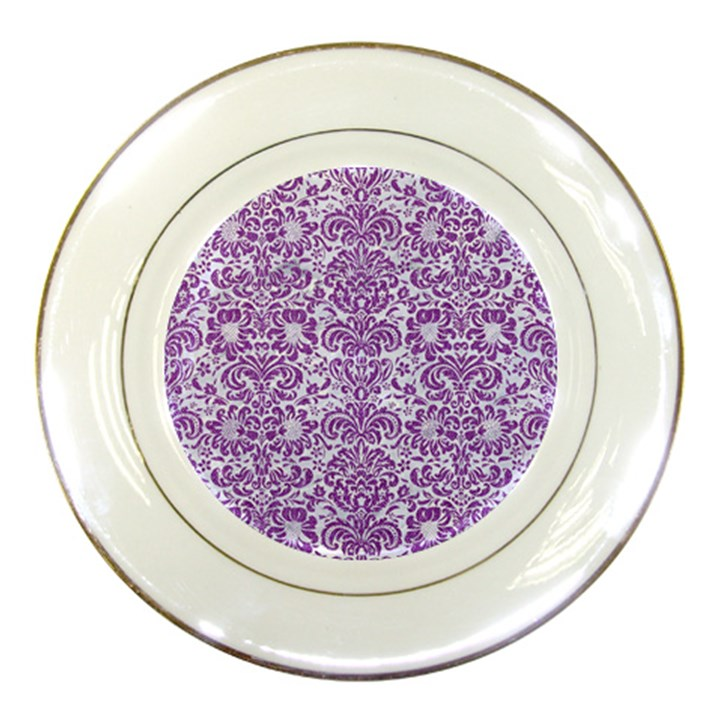 DAMASK2 WHITE MARBLE & PURPLE DENIM (R) Porcelain Plates