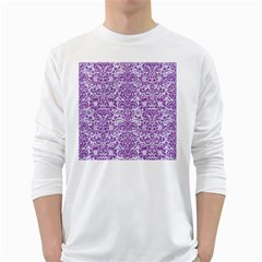 Damask2 White Marble & Purple Denim (r) White Long Sleeve T Shirts