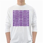 DAMASK2 WHITE MARBLE & PURPLE DENIM (R) White Long Sleeve T-Shirts Front