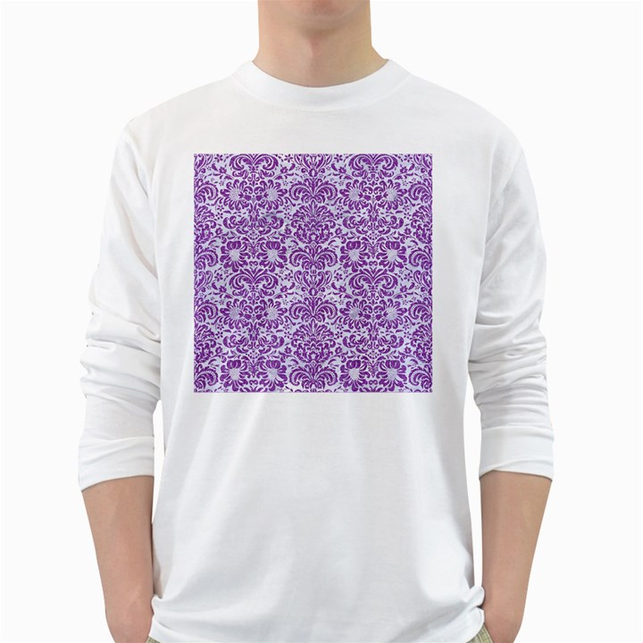 DAMASK2 WHITE MARBLE & PURPLE DENIM (R) White Long Sleeve T-Shirts