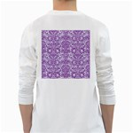 DAMASK2 WHITE MARBLE & PURPLE DENIM (R) White Long Sleeve T-Shirts Back
