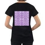 DAMASK2 WHITE MARBLE & PURPLE DENIM (R) Women s Loose-Fit T-Shirt (Black) Back