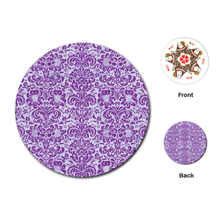 DAMASK2 WHITE MARBLE & PURPLE DENIM (R) Playing Cards (Round)