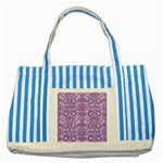 DAMASK2 WHITE MARBLE & PURPLE DENIM (R) Striped Blue Tote Bag Front