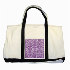 Damask2 White Marble & Purple Denim (r) Two Tone Tote Bag