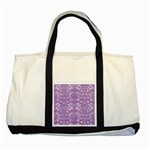 DAMASK2 WHITE MARBLE & PURPLE DENIM (R) Two Tone Tote Bag Front
