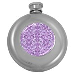 DAMASK2 WHITE MARBLE & PURPLE DENIM (R) Round Hip Flask (5 oz) Front