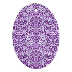 Damask2 White Marble & Purple Denim (r) Oval Ornament (two Sides)