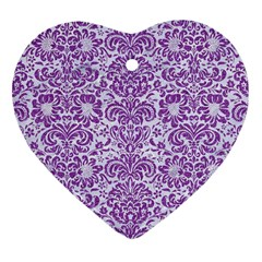 Damask2 White Marble & Purple Denim (r) Heart Ornament (two Sides)