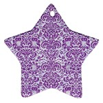 DAMASK2 WHITE MARBLE & PURPLE DENIM (R) Star Ornament (Two Sides) Front