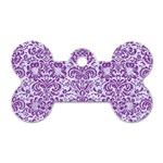 DAMASK2 WHITE MARBLE & PURPLE DENIM (R) Dog Tag Bone (Two Sides) Front