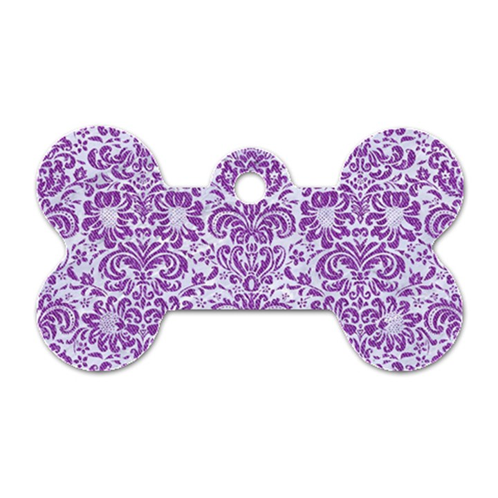 DAMASK2 WHITE MARBLE & PURPLE DENIM (R) Dog Tag Bone (Two Sides)
