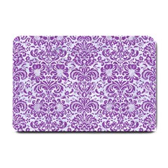 Damask2 White Marble & Purple Denim (r) Small Doormat  by trendistuff