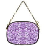 DAMASK2 WHITE MARBLE & PURPLE DENIM (R) Chain Purses (One Side)  Front