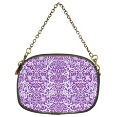 Damask2 White Marble & Purple Denim (r) Chain Purses (two Sides)