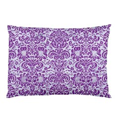 Damask2 White Marble & Purple Denim (r) Pillow Case