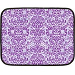 DAMASK2 WHITE MARBLE & PURPLE DENIM (R) Fleece Blanket (Mini) 35 x27 Blanket
