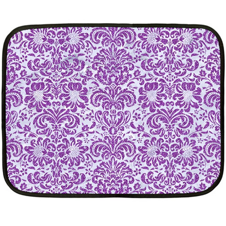 DAMASK2 WHITE MARBLE & PURPLE DENIM (R) Fleece Blanket (Mini)