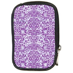 Damask2 White Marble & Purple Denim (r) Compact Camera Cases