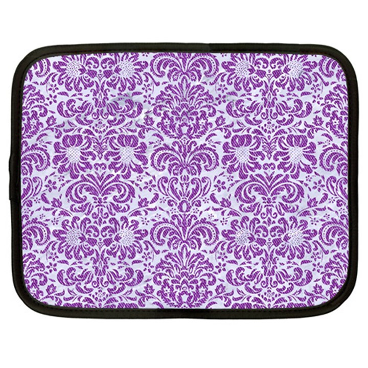 DAMASK2 WHITE MARBLE & PURPLE DENIM (R) Netbook Case (XL)