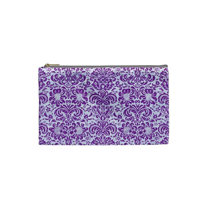 DAMASK2 WHITE MARBLE & PURPLE DENIM (R) Cosmetic Bag (Small)