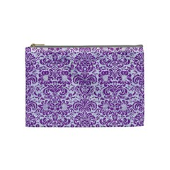 Damask2 White Marble & Purple Denim (r) Cosmetic Bag (medium)