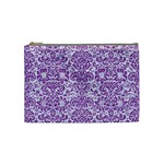 DAMASK2 WHITE MARBLE & PURPLE DENIM (R) Cosmetic Bag (Medium)  Front