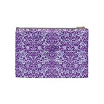 DAMASK2 WHITE MARBLE & PURPLE DENIM (R) Cosmetic Bag (Medium)  Back