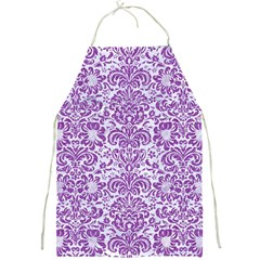 Damask2 White Marble & Purple Denim (r) Full Print Aprons
