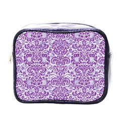 Damask2 White Marble & Purple Denim (r) Mini Toiletries Bags
