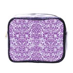 DAMASK2 WHITE MARBLE & PURPLE DENIM (R) Mini Toiletries Bags Front