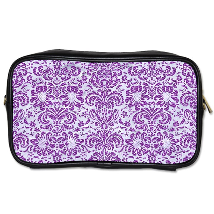 DAMASK2 WHITE MARBLE & PURPLE DENIM (R) Toiletries Bags