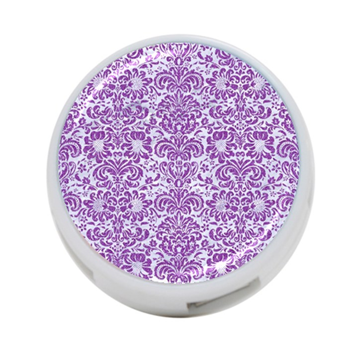 DAMASK2 WHITE MARBLE & PURPLE DENIM (R) 4-Port USB Hub (One Side)