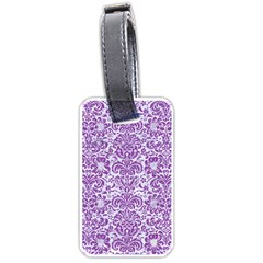 Damask2 White Marble & Purple Denim (r) Luggage Tags (two Sides) by trendistuff