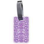 DAMASK2 WHITE MARBLE & PURPLE DENIM (R) Luggage Tags (Two Sides) Front