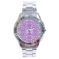 Damask2 White Marble & Purple Denim (r) Stainless Steel Analogue Watch by trendistuff