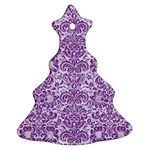 DAMASK2 WHITE MARBLE & PURPLE DENIM (R) Christmas Tree Ornament (Two Sides) Front
