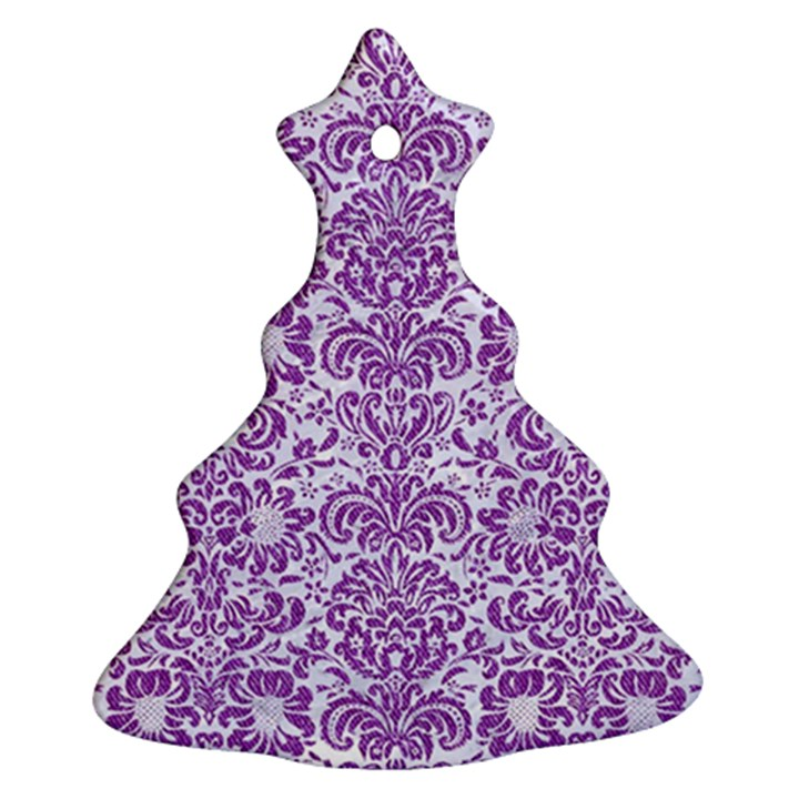 DAMASK2 WHITE MARBLE & PURPLE DENIM (R) Christmas Tree Ornament (Two Sides)