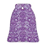 DAMASK2 WHITE MARBLE & PURPLE DENIM (R) Bell Ornament (Two Sides) Back