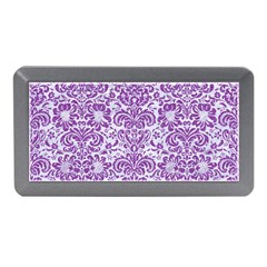 Damask2 White Marble & Purple Denim (r) Memory Card Reader (mini)