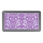 DAMASK2 WHITE MARBLE & PURPLE DENIM (R) Memory Card Reader (Mini) Front