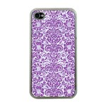 DAMASK2 WHITE MARBLE & PURPLE DENIM (R) Apple iPhone 4 Case (Clear) Front