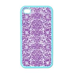 DAMASK2 WHITE MARBLE & PURPLE DENIM (R) Apple iPhone 4 Case (Color)