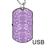 DAMASK2 WHITE MARBLE & PURPLE DENIM (R) Dog Tag USB Flash (One Side) Front